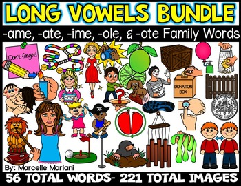 CVCE- LONG VOWEL CLIPART -AME, -ATE, -OLE, -OTE, & -IME WORDS