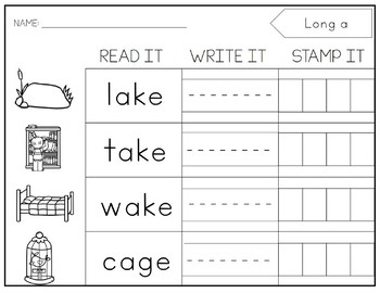 LONG Vowel Stamping. Centers. Printable.