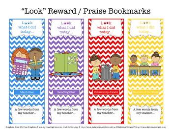 """""""LOOK"""" Reward / Praise Bookmarks"""