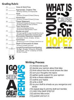 LOOKING FOR ALASKA Essay Prompts (by John Green)