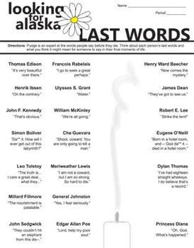 LOOKING FOR ALASKA Last Words Activity (by John Green)