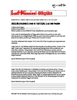 LORD OF THE FLIES COMMON CORE ACTIVITIES