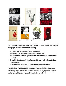 LORD OF THE FLIES BOOK JACKET WRITING ASSIGNMENT