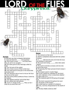 LORD OF THE FLIES CROSSWORD - 26 Clues to Test Character, Theme and Plot