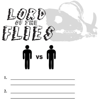 LORD OF THE FLIES Conflict Graphic Organizer - 6 Types of Conflict