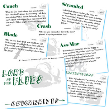 LORD OF THE FLIES Journal - Quickwrite Writing Prompts Slideshow