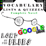 LORD OF THE FLIES Vocabulary List and Quiz Assessment (Cre