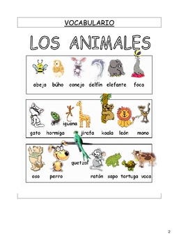 LOS ANIMALES 1 Printable Worksheets -Spanish-English