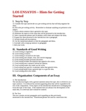 LOS ENSAYOS-Hints for getting started-4H/AP PACKET