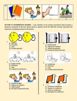 SPANISH:LOS MANDATOS DE LA CLASE - INTERPRETIVE LISTENING - SPANISH COMMANDS