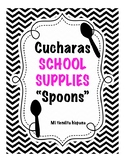 """LOS MATERIALES ESCOLARES/ SCHOOL SUPPLIES VOCABULARY """"CUCHARAS"""" (Spoons)"""