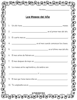 LOS MESES DEL AÑO - WORKSHEET by FUNtastico Spanish Materials | TpT