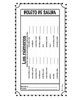 LOS NÚMEROS - BOLETO DE SALIDA