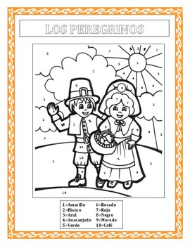 LOS PEREGRINOS - Color by Number in Spanish- Thanksgiving Themed