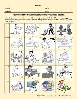 LOS QUEHACERES / LAS TAREAS DOMESTICAS = HOUSEHOLD CHORES IN SPANISH