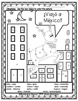 LOS RENOS en Méjico-Spanish reindeer color by number FUN WINTER printables