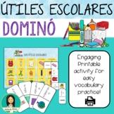 LOS ÚTILES ESCOLARES - Spanish School Supplies Printable Domino Game