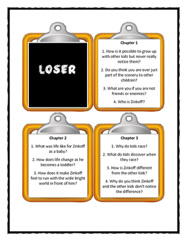 LOSER by Jerry Spinelli - Discussion Cards