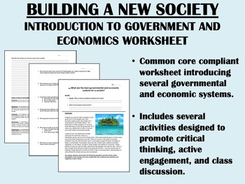 Building a New Society  - Introduction to Government and Economics worksheet
