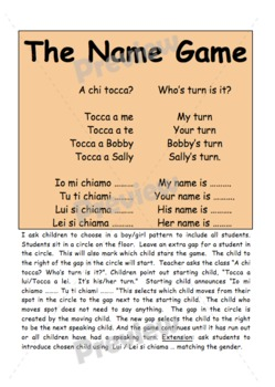 LOTE vocab games - example in Italian