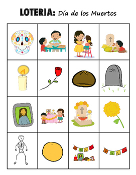LOTERIA: Dia de los Muertos + 16 bonus pages of vocabulary words