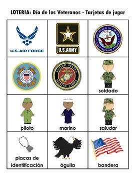 LOTERIA: El Dia de los Veteranos + 12 paginas de las palabras del vocabulario