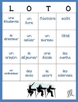 LOTO pour la rentrée - French BINGO game