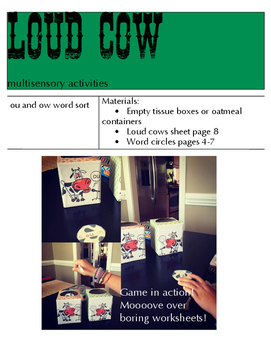 LOUD COWS-multisensory activities for ou and ow vowel teams-Orton Gillingham