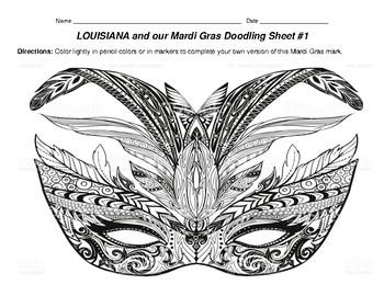 LOUISIANA 10 Mardi Gras Doodling Sheets