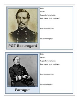 LOUISIANA - 28 EZ to complete Civil War Trading Cards
