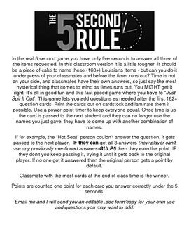 LOUISIANA - 5 Second Rule Quiz Game