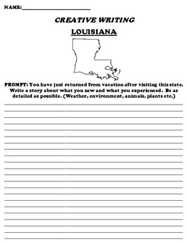 LOUISIANA CREATIVE WRITING  DIFFERENTIATED WORKSHEET