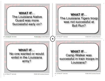 """LOUISIANA - Ch. 10  """"What If"""" Task Cards"""