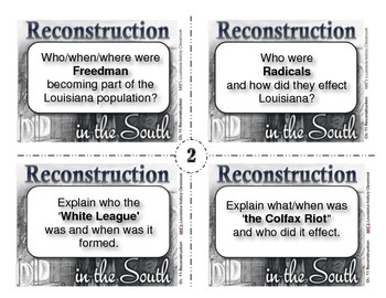 LOUISIANA - Ch. 11 Reconstruction Task Cards