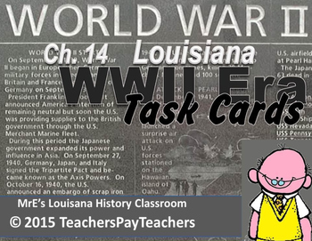 LOUISIANA - Ch. 14 WWII Task Cards