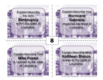 LOUISIANA - Ch. 16 Contemporary Task Cards
