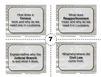 LOUISIANA - Ch.4 Government Task Cards