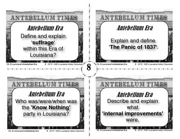 LOUISIANA - Ch. 9 Antebellum Era Task Cards