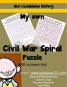 LOUISIANA - Civil War Spiral Puzzle