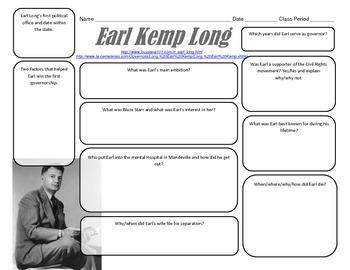LOUISIANA - Earl Kemp Long Graphic Organizer