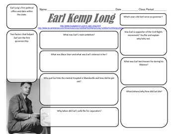 LOUISIANA - Earl Kemp Long Graphic Organizer