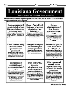 LOUISIANA - Government Think Tac Toe