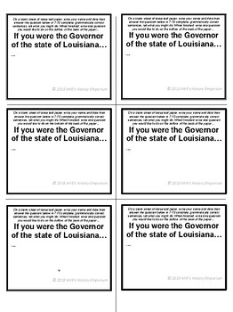 """LOUISIANA  """"If you were the Governor of Louisiana..."""" Bellringers/Activities"""