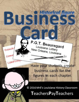 LOUISIANA - Historical Figures Business Cards