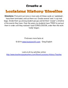 LOUISIANA - Historical Timeline