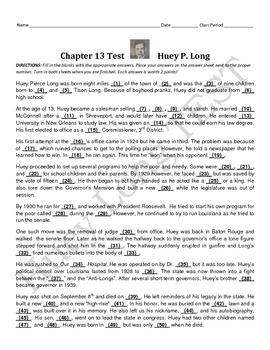 LOUISIANA - Huey Long Test