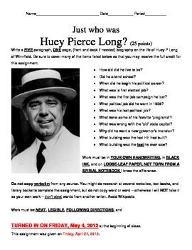 LOUISIANA - Huey P. Long research