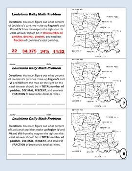 LOUISIANA - Map/Math practice