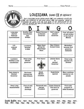 LOUISIANA - My Date II with History Bingo