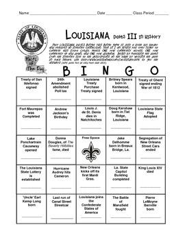 LOUISIANA - My Internet Date III with History Bingo